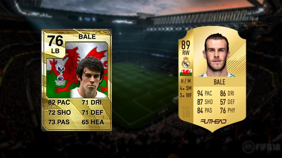 Bale atuava pela lateral esquerda, e agora é um dos mais temidos pontas pela direita do Ultimate Team (Foto: Reprodução/Murilo Molina)