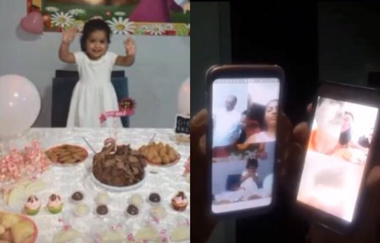 Menina com asma tem festa por videochamada e um bolo em cada casa: 'Acolhedor', diz mãe