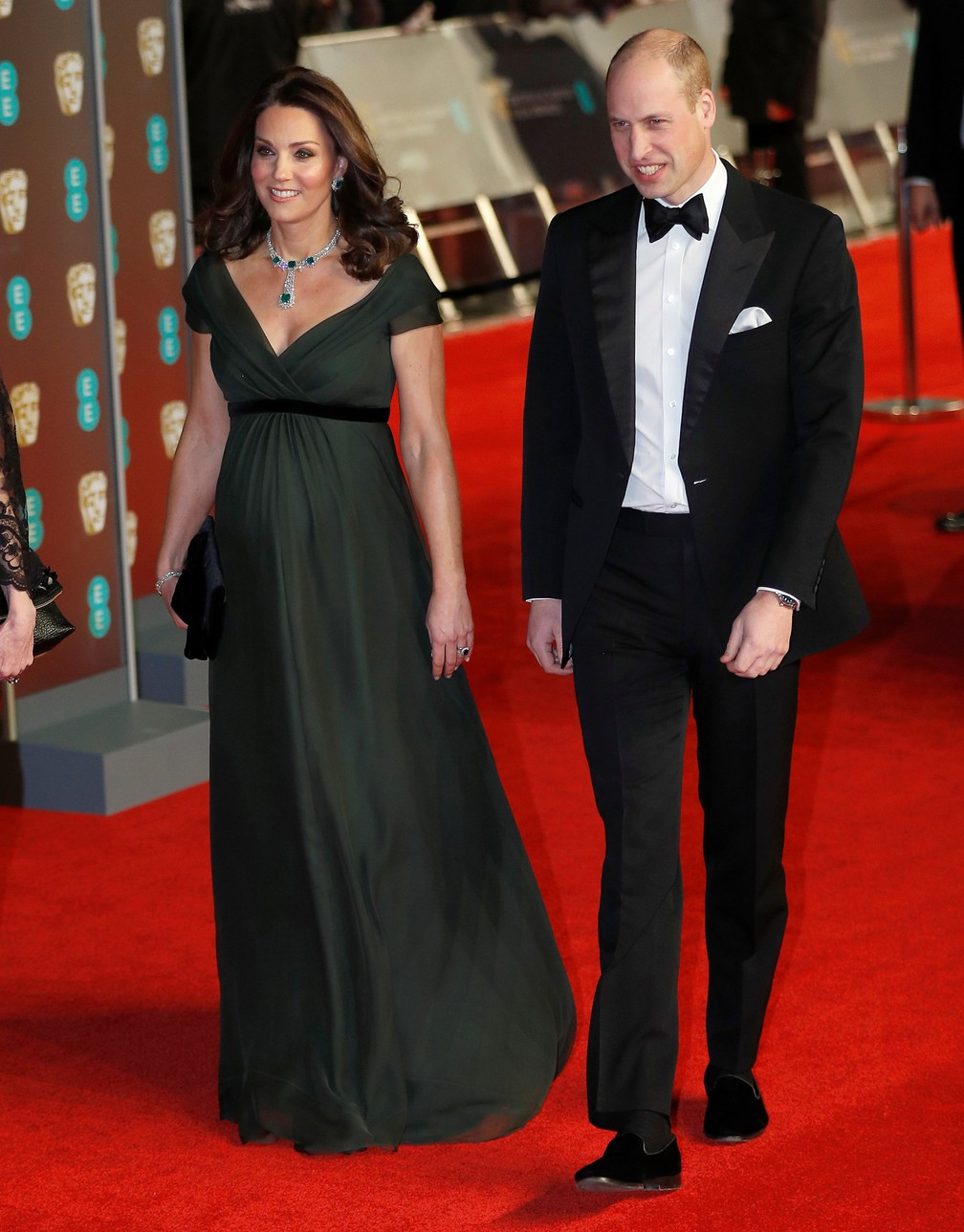 Kate Middleton e o príncipe William chegam no tapete vermelho do Bafta — Foto: Peter Nicholls/Reuters