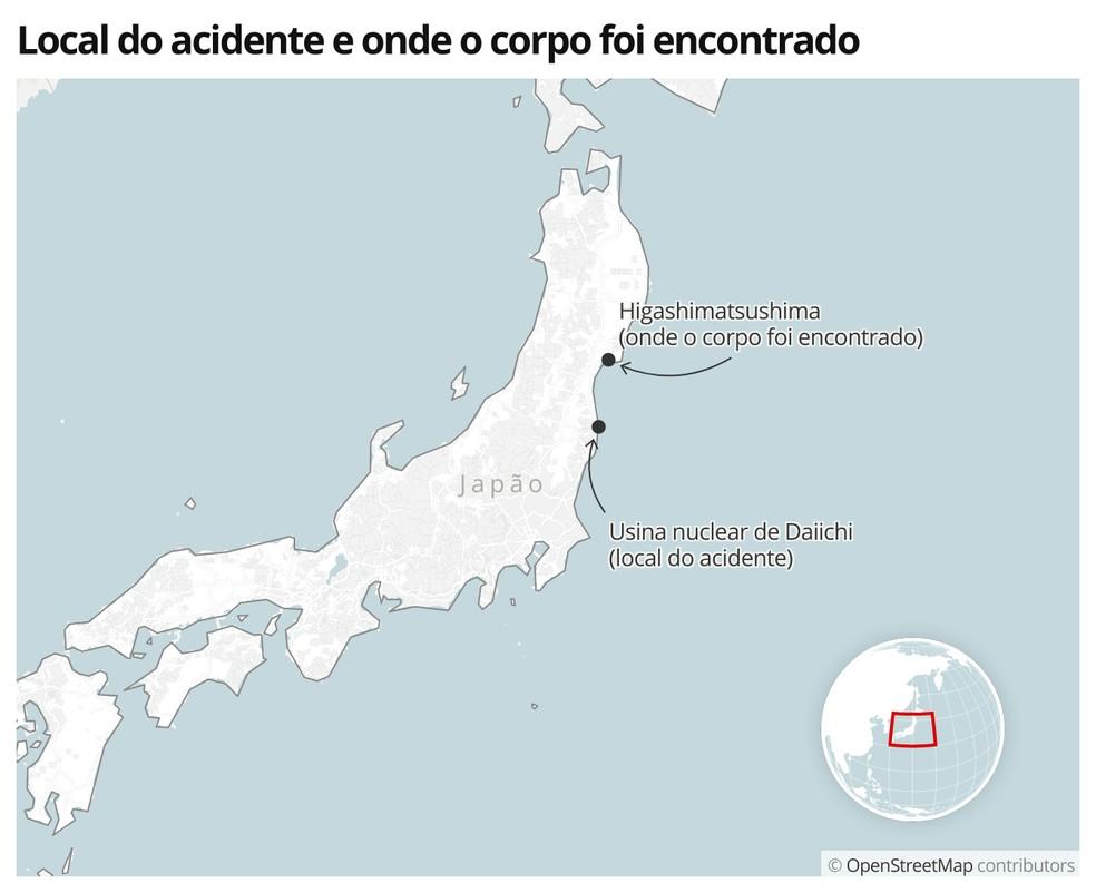 Mapa mostra onde aconteceu o tsunami, em 2011, e onde o corpo foi encontrado, em 2021 — Foto:  G1