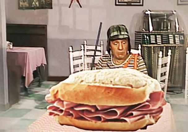 Chaves e seu sanduíche de presunto (Foto: Reprodução)