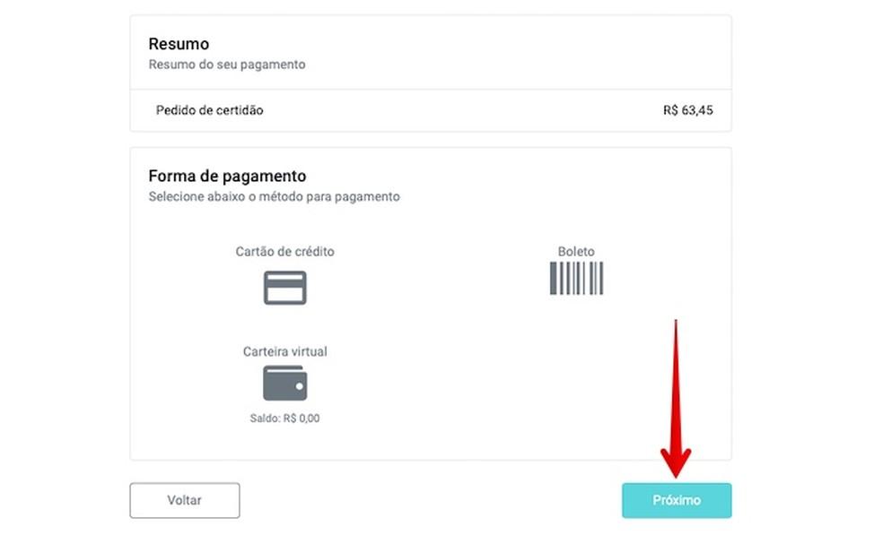 Selecione um método de pagamento — Foto: Reprodução/Helito Beggiora