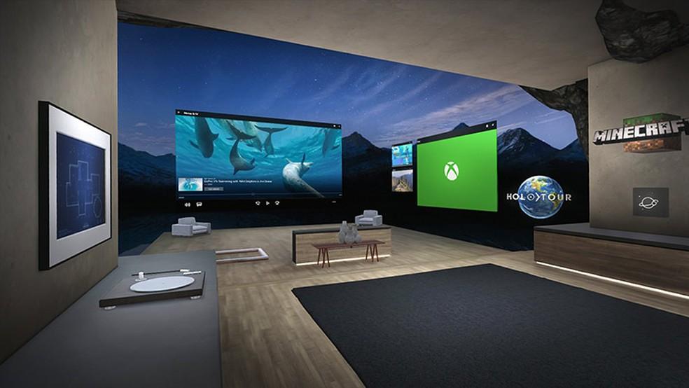 Na realidade mista, parades de uma casa são softwares do Windows 10  (Foto: Reprodução/Luana Marfim)
