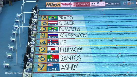 Caio Pumputis termina em terceiro na semifinal 1 dos 100m medley