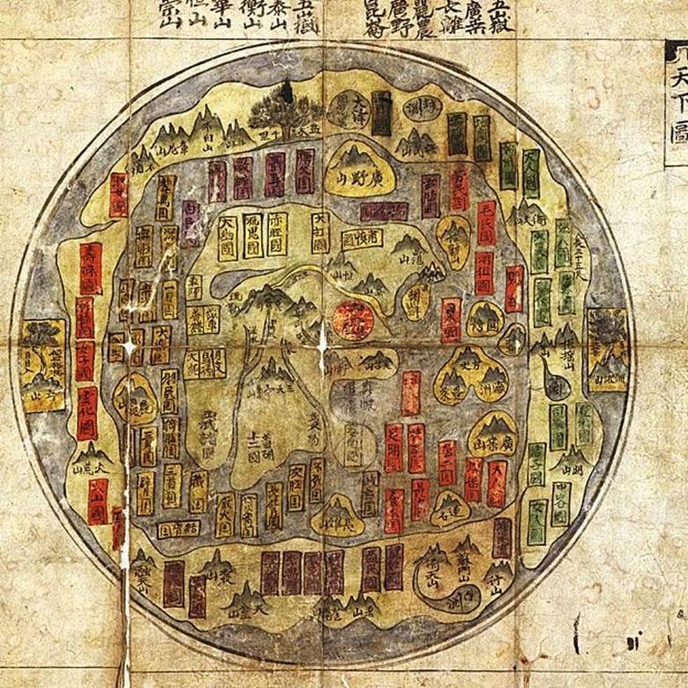 Mapa mundi, do século 8, com representação tradicional da crença coreana de que a Terra é plana  (Foto: Science Photo Library)