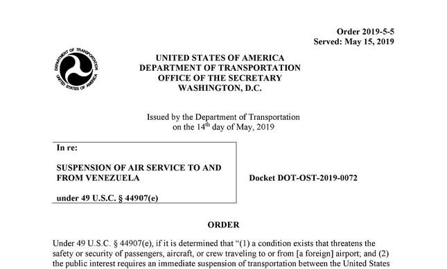 Documento do governo americano impedindo voos comerciais e de carga dos EUA para a Venezuela