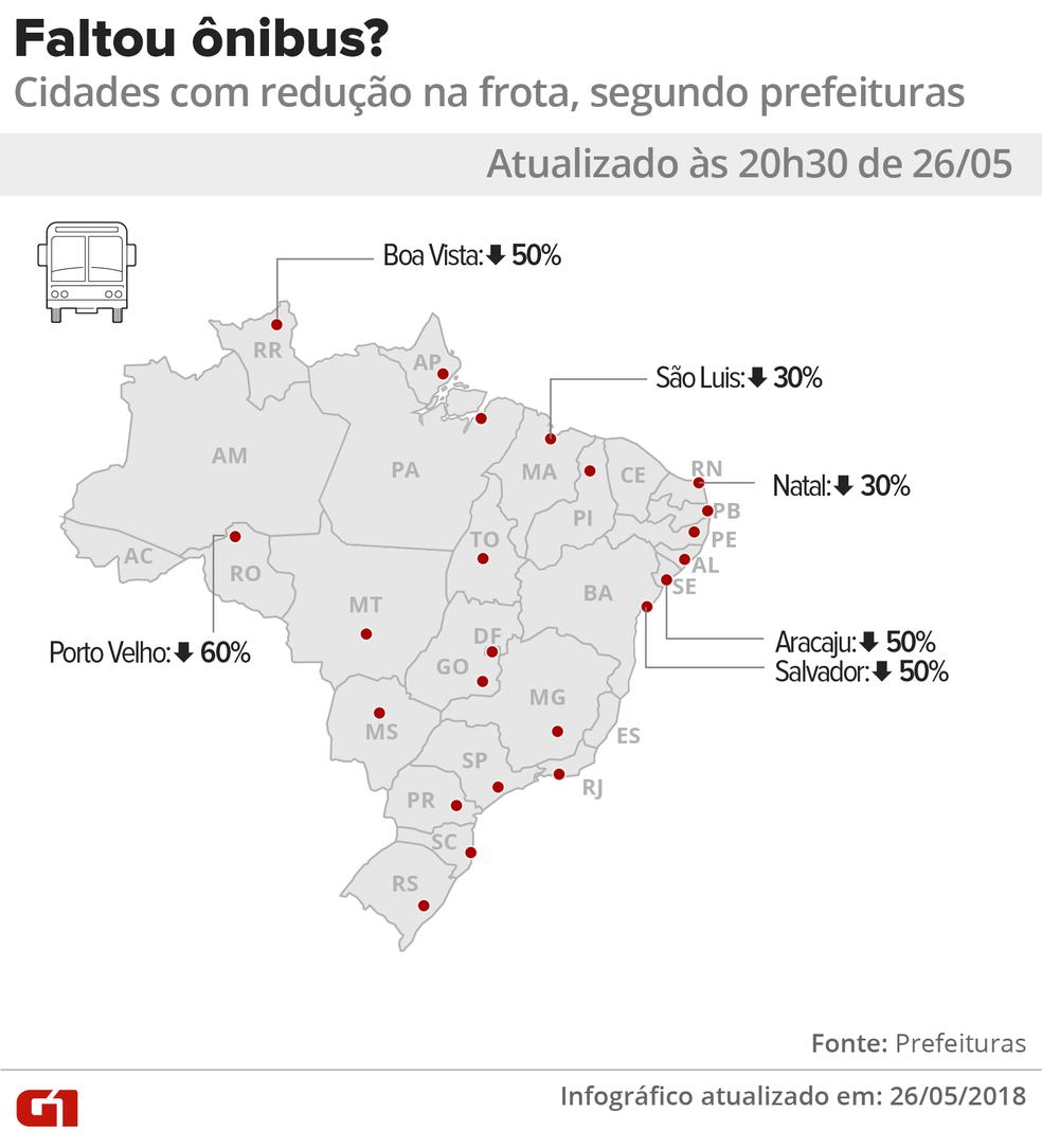 Mapa com os estados onde há cidades que reduziram as frotas de ônibus por impacto da greve dos caminhoneiros (Foto: Igor Estrella/G1)