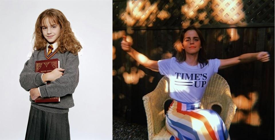 Emma Watson aos 9 anos interpretando Hermione Granger e, aos 28, apoiando o movimento Time's Up (Foto: Reprodução)