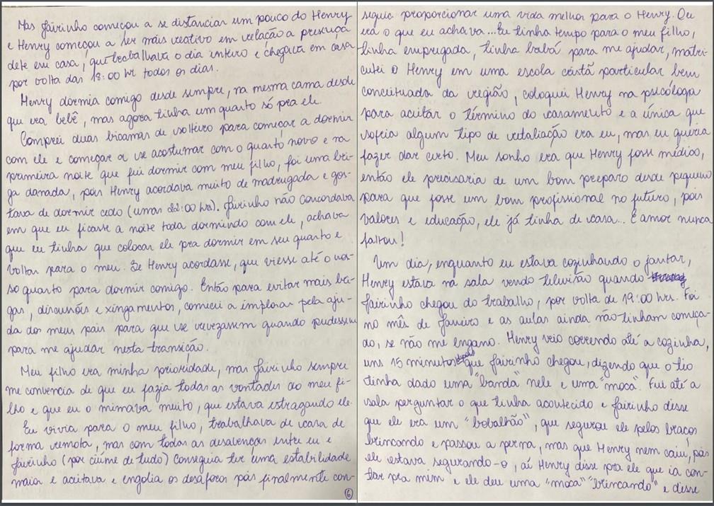 Caso Henry Borel: carta de Monique Medeiros (parte 6) — Foto: Reprodução