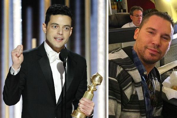 O ator Rami Malek com o troféu do Globo de Ouro vencido por ele por sua atuação em Bohemian Rhapsody (2018) e o cineasta Bryan Singer, diretor do filme (Foto: Getty Images/Instagram)