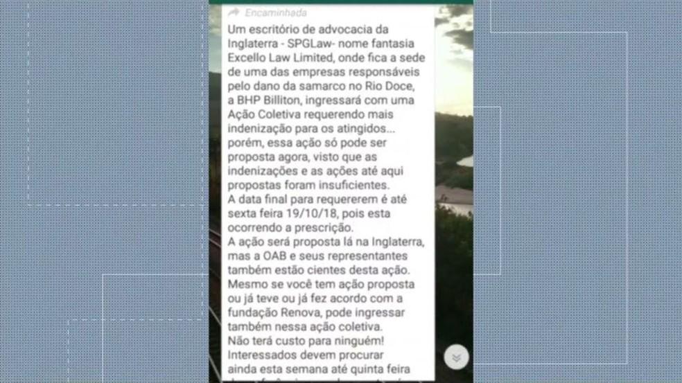 Mensagem informando de ação é enviada por mensagem para moradores de Colatina  — Foto: Reprodução/ Whatsapp
