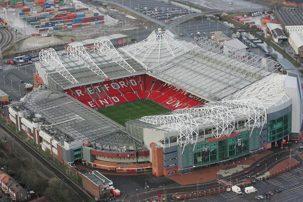 Imagem aérea de Old Trafford, casa do Manchester United — Foto: John Peters/Manchester United