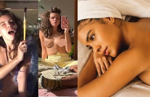 Alanis Guillen (Juma), Bruna Linzmeyer (Madeleine) e Bella Campos (Muda) mostram, na web, fotos de topless ou apenas com acessórios (Foto: Reprodução)