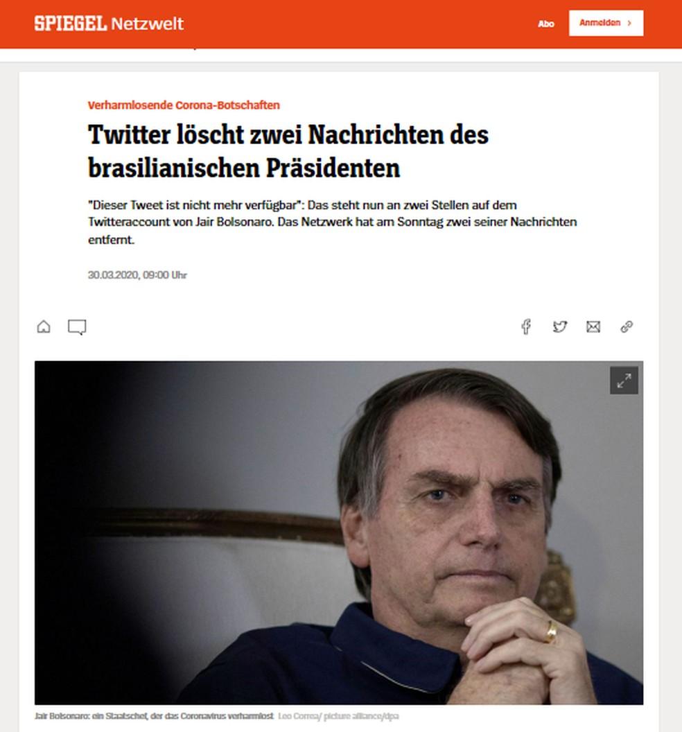 Site da alemã 'Spiegel' noticiou que Bolsonaro teve posts apagados do Twitter — Foto: Reprodução/Spiegel.de