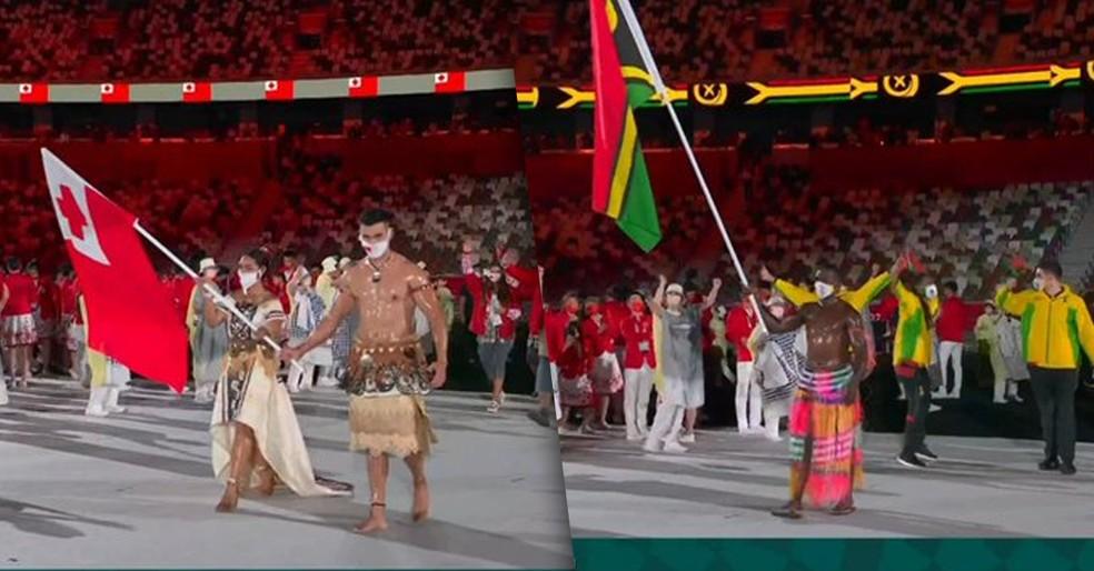 Delegações de Tonga e Vanuatu — Foto: Reprodução SporTV