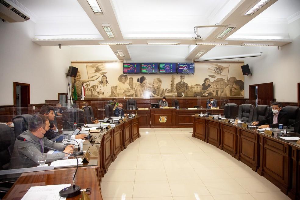 Imagem de arquivo de reunião ordinária na Câmara de Ueraba em 15/09/2021 — Foto: Rodrigo Garcia/Câmara Municipal de Uberaba