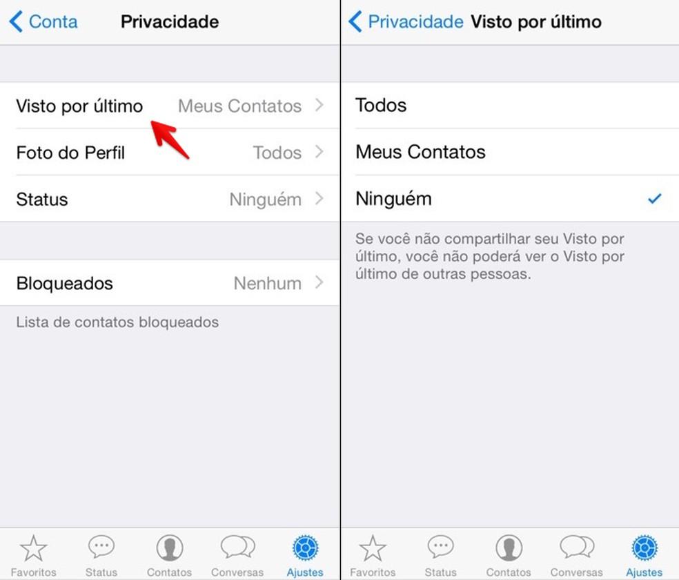 """WhatsApp: """"visto por último"""" pode ser ocultado no menu de """"Privacidade"""" — Foto: Reprodução/Helito Beggiora"""