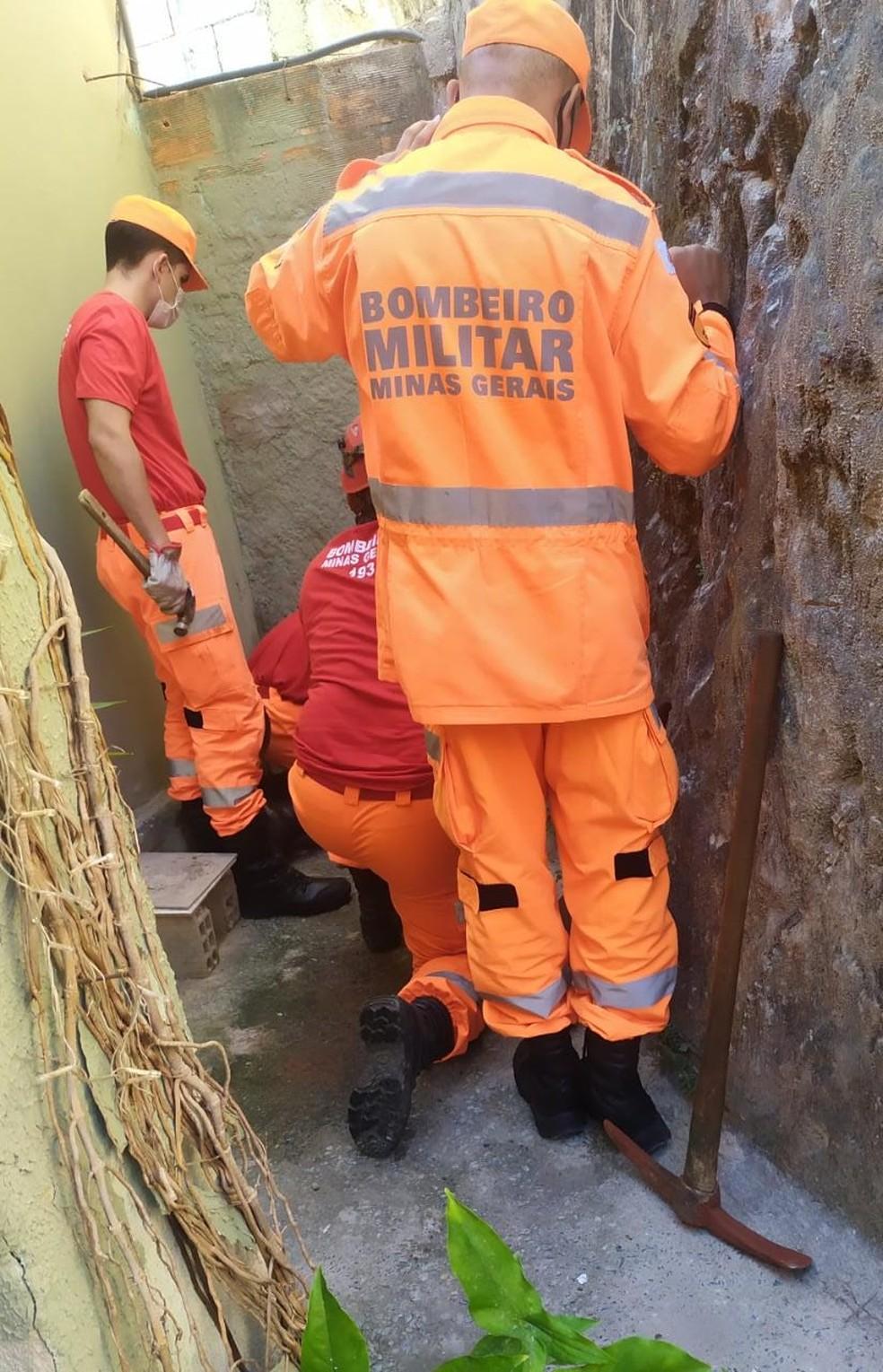 Bombeiros resgatando a cadelinha Mel. — Foto: Rosângela Silva/Arquivo Pessoal