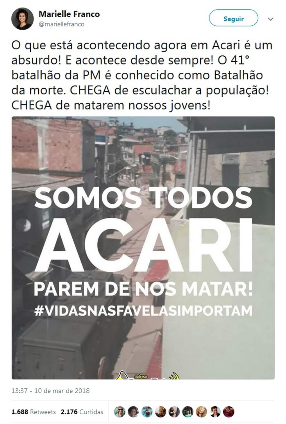 Post de Marielle Franco sobre ação da PM em Acari (Foto: Reprodução/Twitter)