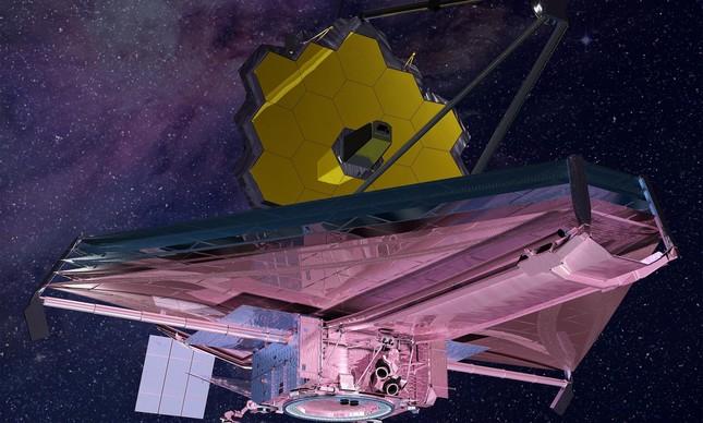 Impressão artística do telescópio espacial James Webb. O espelho primário é revestido de ouro para tornar o instrumento mais eficiente.