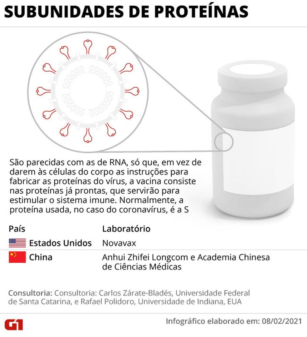 Infográfico mostra como funcionam vacinas de subunidades de proteínas contra o coronavírus — Foto: Anderson Cattai/G1