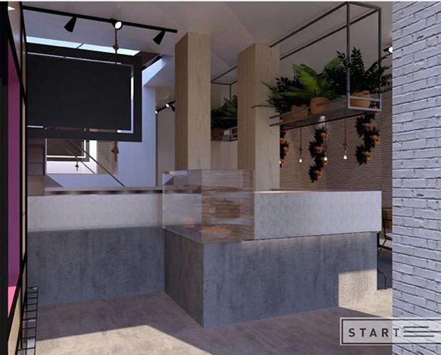 Na entrada há um balcão com vista para a cozinha (Foto: Instagram/ Reprodução)