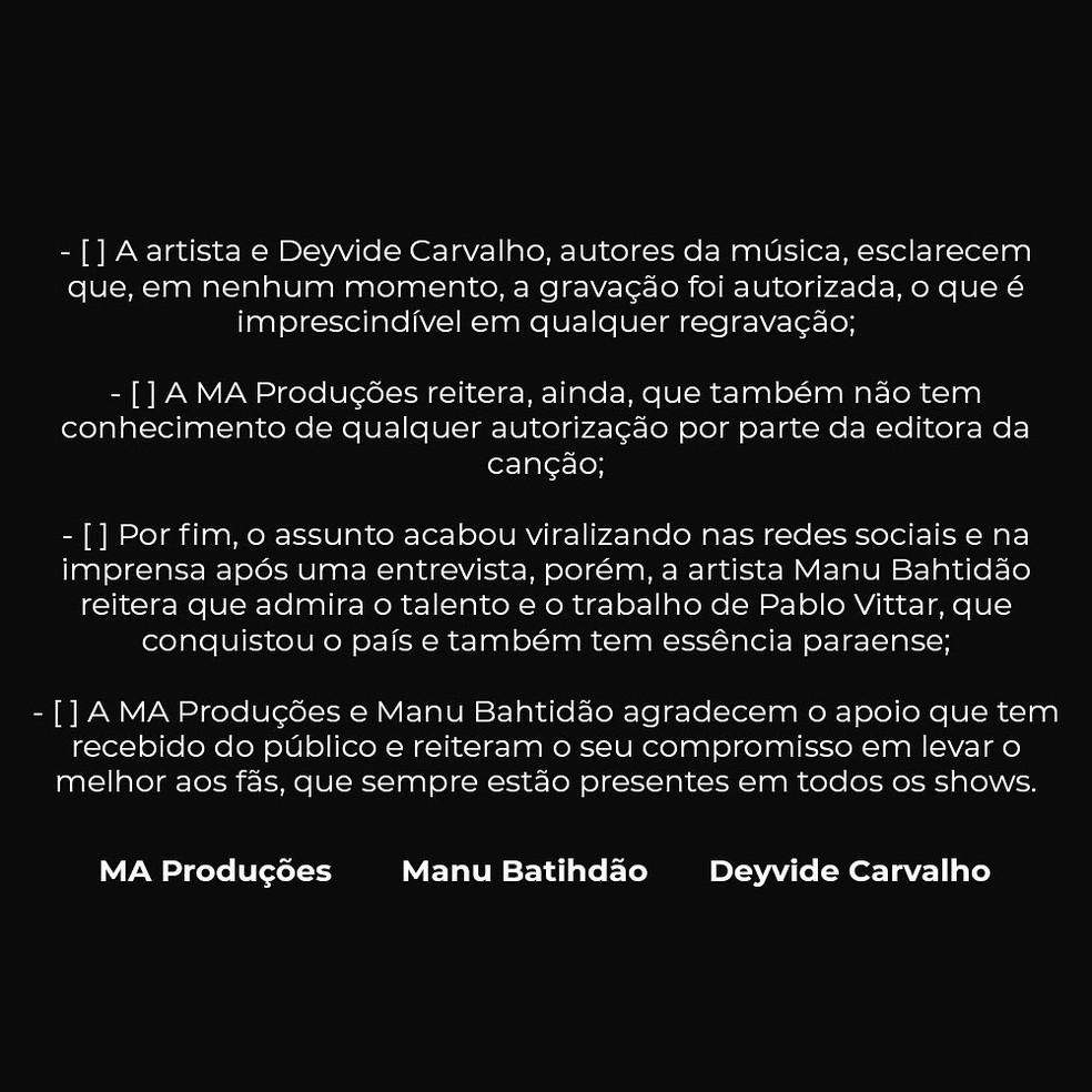 Segunda parte do comunicado da empresa MA Produções sobre a música 'Apaixonada' — Foto: Reprodução / Twitter Manu Batidão
