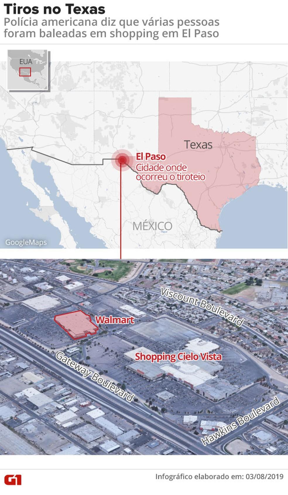 Tiros em El Paso, no Texas, deixam mortos e feridos. — Foto: Robert Jaworski/G1