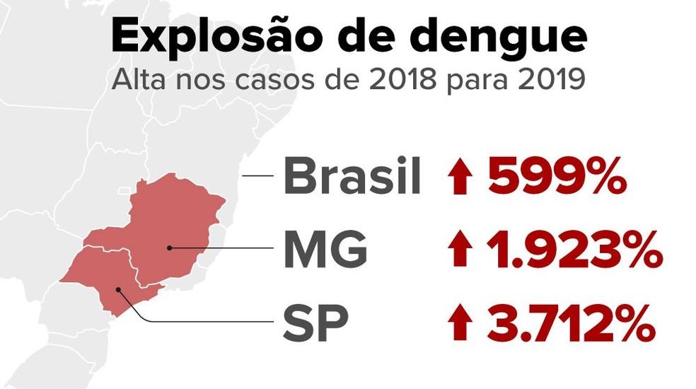 Casos de dengue crescem 7 vezes neste ano e passam de 1,4 milhão — Foto: Arte/G1