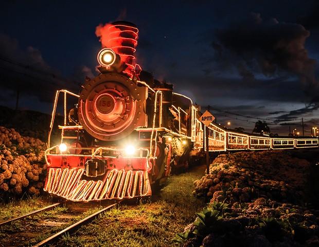 A locomotiva que faz o trajeto da serra gaúcha fica toda iluminada (Foto: Zeto Teloken)