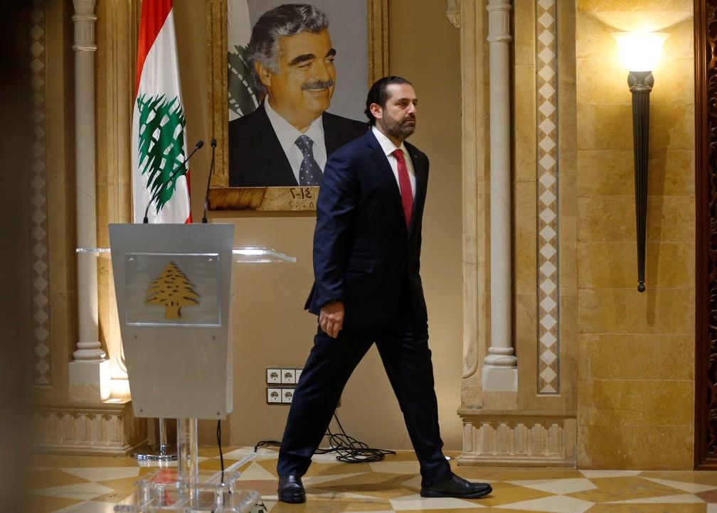 Primeiro-ministro do Líbano, Saad al-Hariri sai de coletiva de imprensa após renunciar — Foto: Mohamed Azakir/Reuters