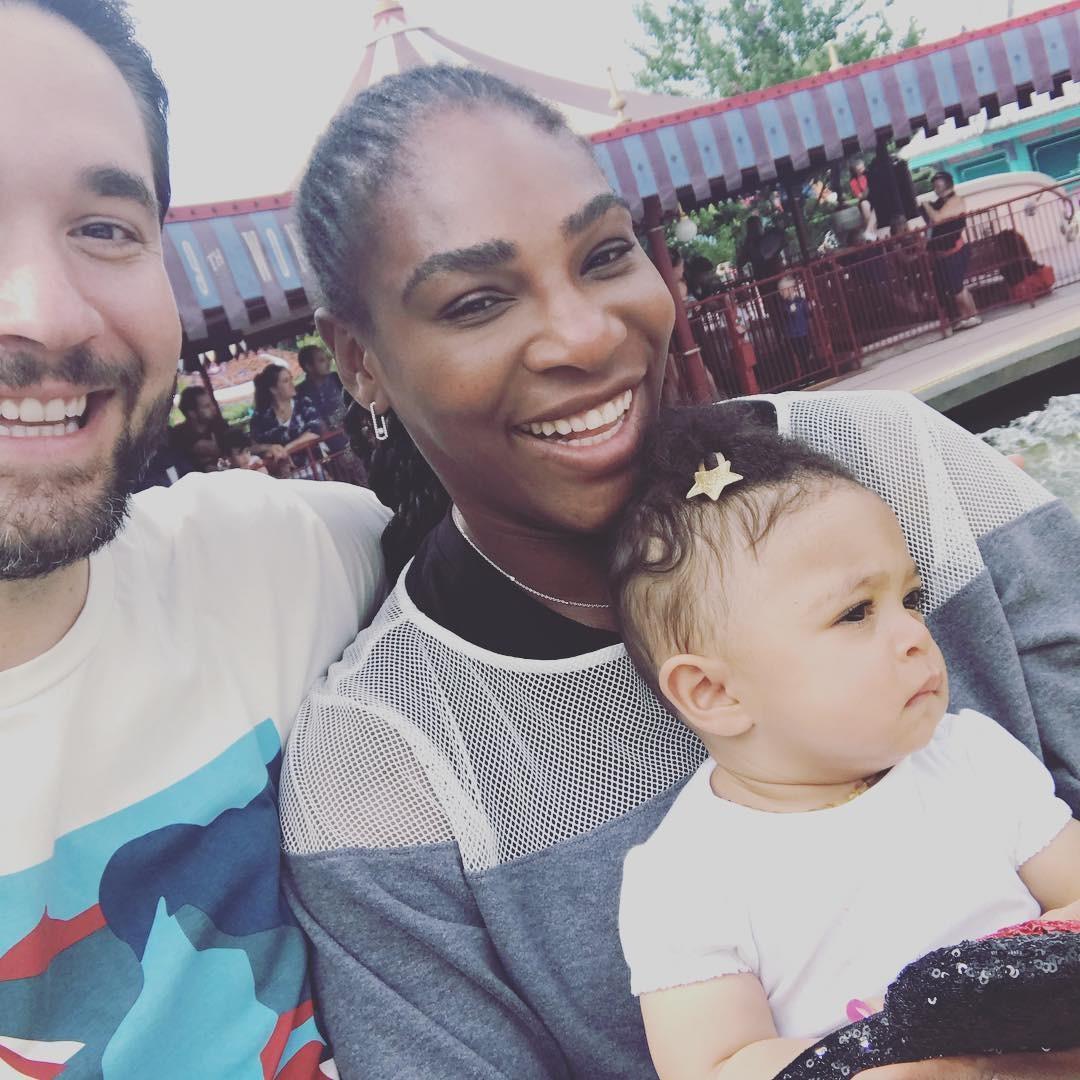 Serena Williams com o marido, Alexis Ohanian, e a filha, Alexis Jr. (Foto: Reprodução/ Instagram)