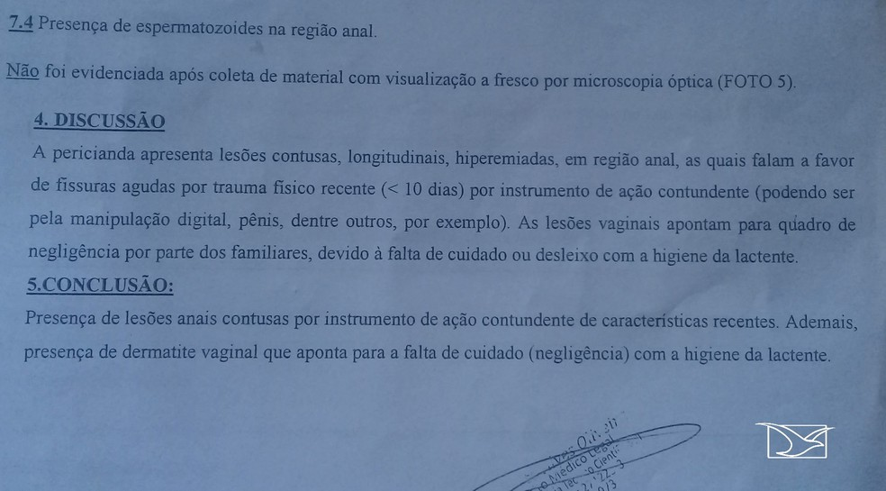 Laudo que comprova que o bebê foi vítima de abuso sexual — Foto: Reprodução/TV Mirante