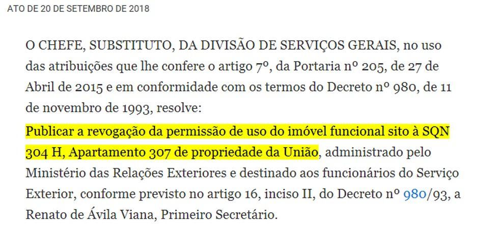 Publicação no DOU desta quinta-feira (20) revoga a permissão de ex-diplomata usar imóvel funcional — Foto: DOU/Reprodução