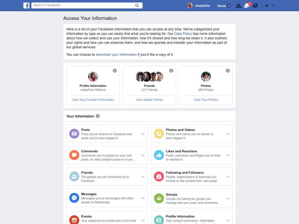 O download às informações fornecidas ao Facebook também ficará mais fácil (Foto: Divulgação/Facebook)