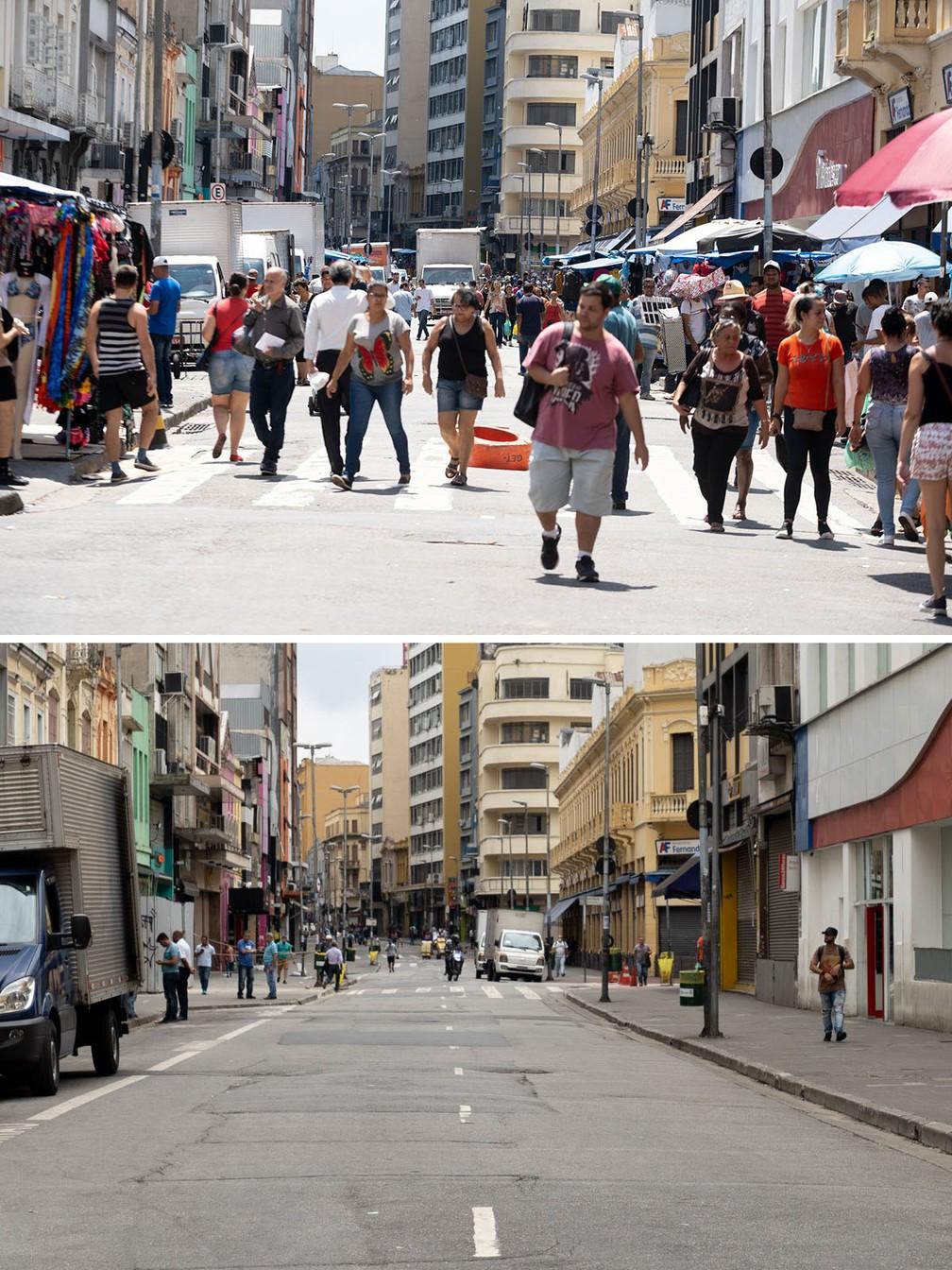 A Rua 25 de Março, uma das mais movimentadas de São Paulo devido ao comércio, é vista cheia na segunda-feira (16) e esvaziada nesta sexta (20), após o impacto das medidas de prevenção contra o coronavírus — Foto: Marcelo Brandt/G1