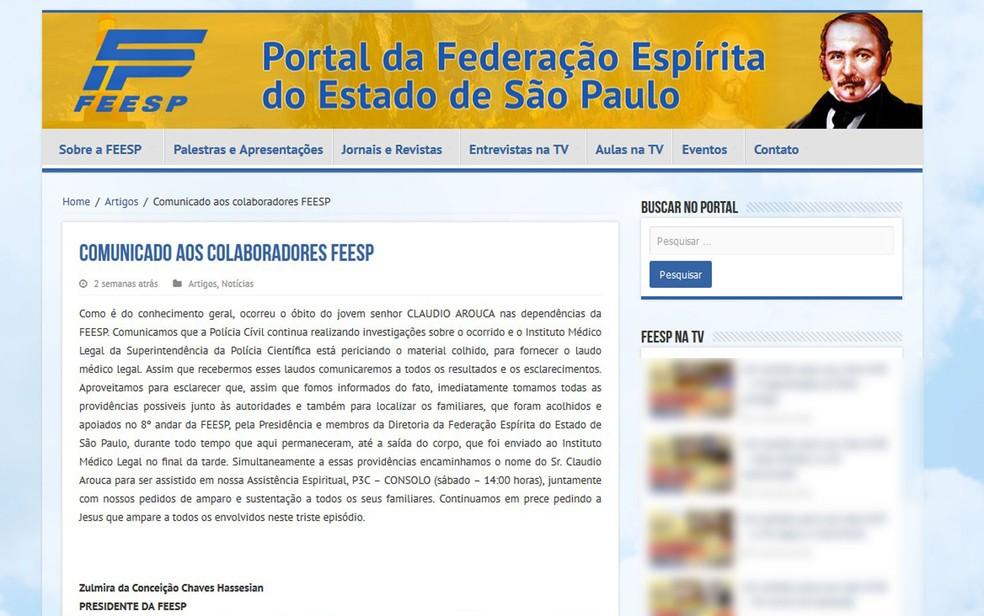 Em sua página na internet, Federação Espírita informou ter dado solidariedade à família do engenheiro por conta de sua morte (Foto: Reprodução/Feesp)