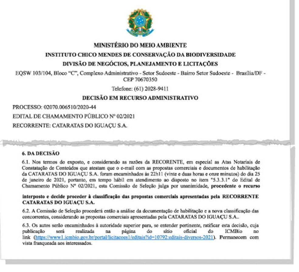 Decisão do ICMBio leva em contas atas notariais do Cataratas — Foto: Reprodução/Arquivo