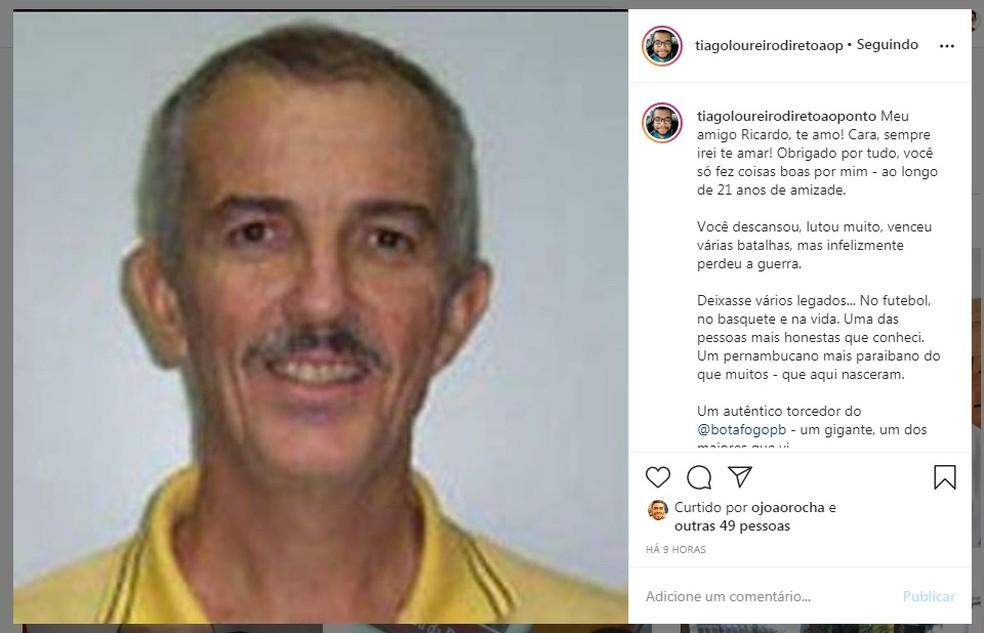 Homenagem do comentarista esportivo da Rádio CBN, Tiago Loureiro, ao seu amigo Ricardo Prado — Foto: Reprodução / Instagram