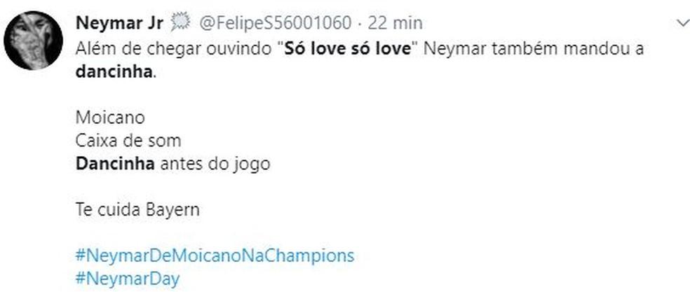 Internautas brincam com escolha musical de Neymar antes da final da Liga dos Campeões — Foto: Reprodução/Twitter