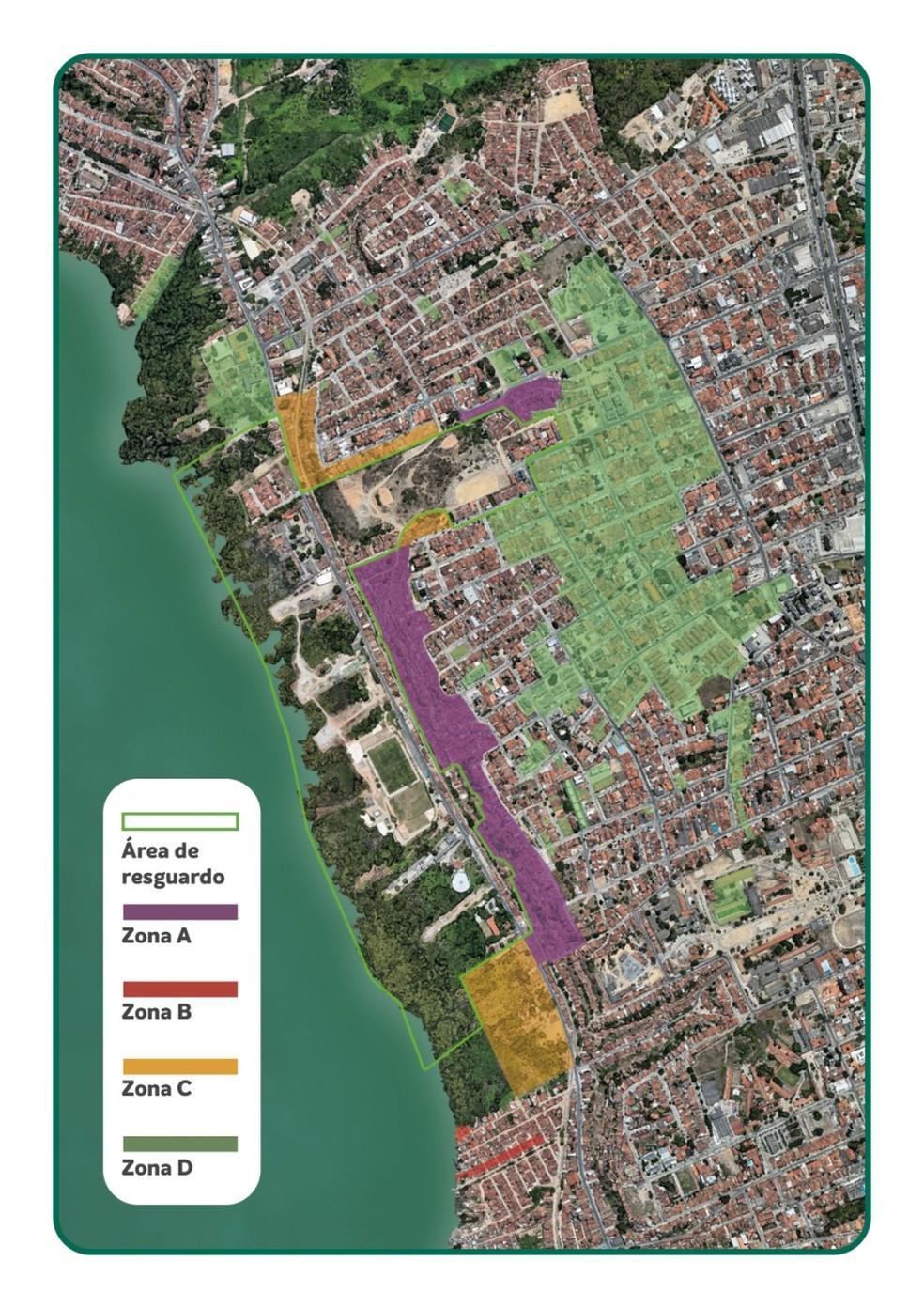 Mapa da desocupação dos bairros de Maceió com rachaduras foi divulgado pela Braskem — Foto: Divulgação/Braskem