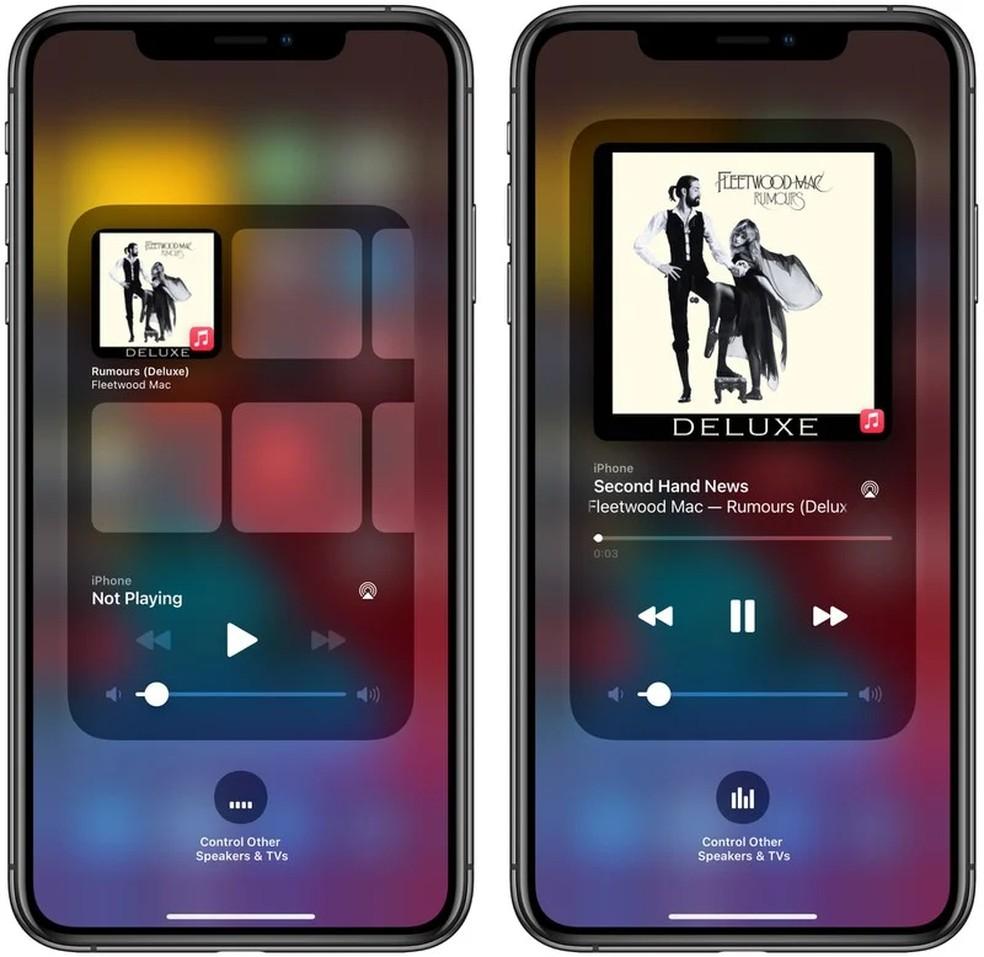 Novo player de música da Central de Controle do iPhone no iOS 14.2 beta mostra sugestões para o usuário — Foto: Reprodução/MacRumors