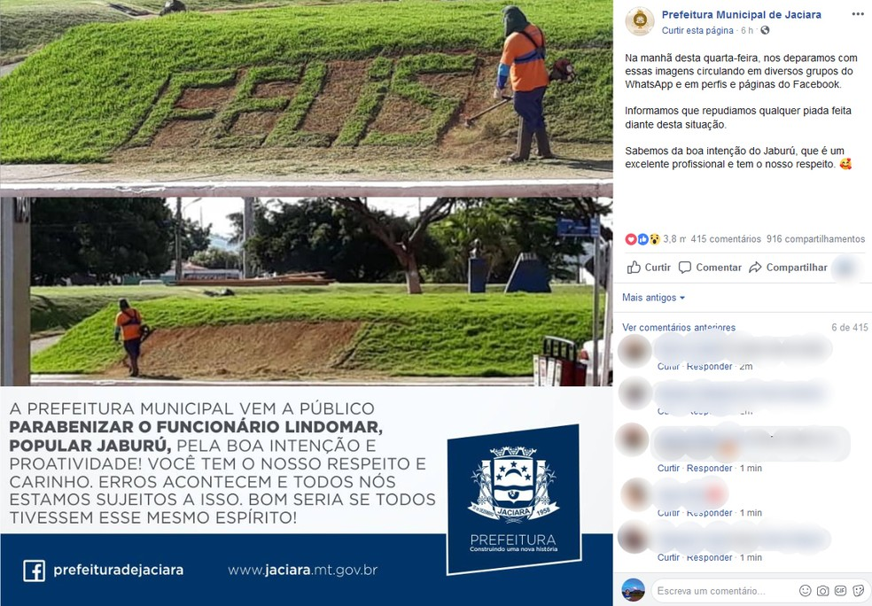 Prefeitura faz post em defesa de funcionário criticado por erro. — Foto: Reprodução
