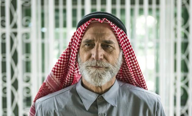 Herson Capri grava cenas de Aziz que serão usadas no fim de 'Órfãos da terra' (Paulo Belote/TV Globo)