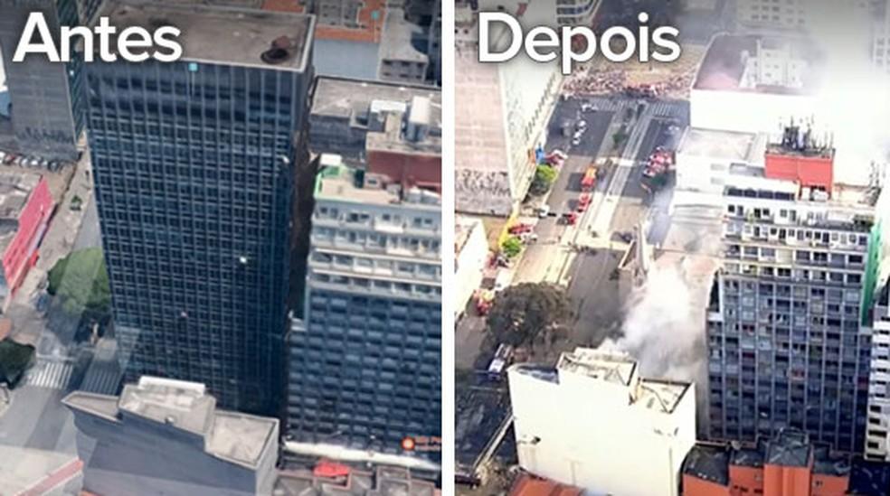 Imagem mostra antes e depois de prédio que desabou após incêndio no Centro de SP (Foto: Igor Estrella/G1)