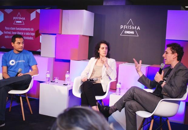 Safiri Felix, Rosine Kadamani e Samy Dana em debate do Festival GloboNews Prisma (Foto: Renata Monteiro)