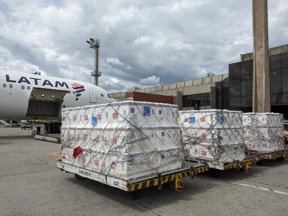 Vacinas embarcam para o Recife, em voo da Latam, que também transportou passageiros — Foto: Latam/Divulgação