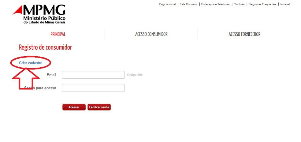 """Clique em """"Criar Cadastro"""" para continuar a operação — Foto: Reprodução/Júlio César"""