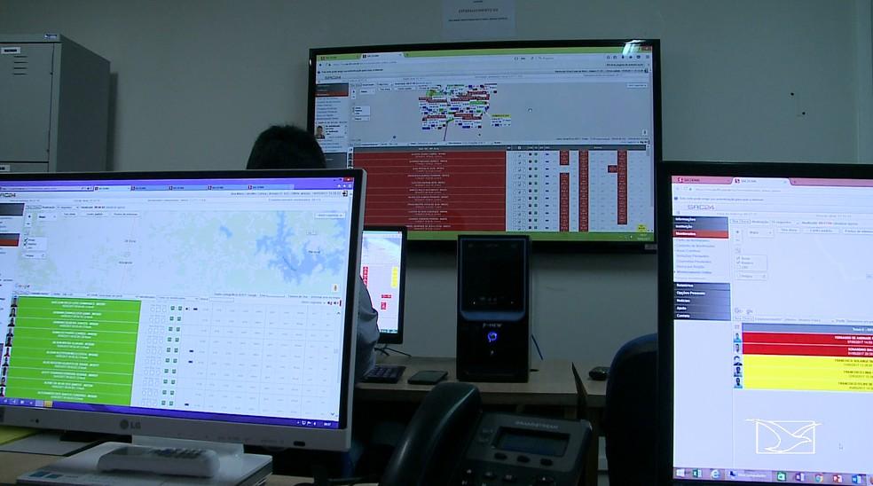 Central de monitoramento controla os presos que estão utilizando as tornozeleiras eletrônicas no Maranhão — Foto: Reprodução/TV Mirante