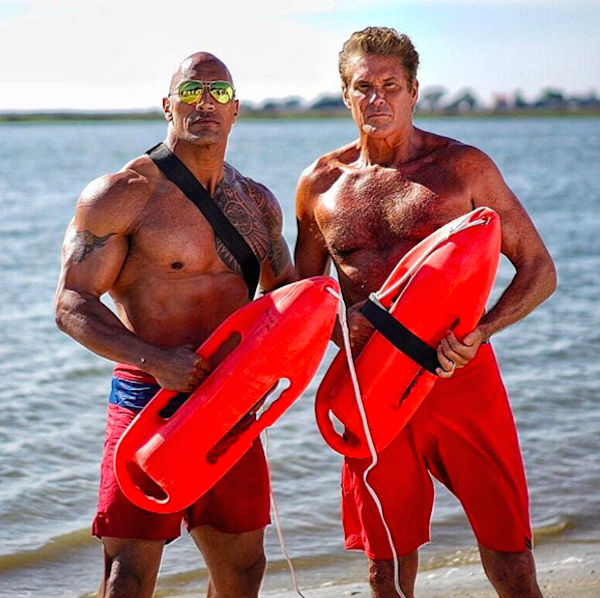 Os atores The Rock e David Hasselhoff  (Foto: Instagram)